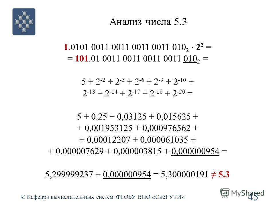 Анализ числа 5.3 45 © Кафедра вычислительных систем ФГОБУ ВПО «СибГУТИ» 1.0101 0011 0011 0011 0011 010 2 2 2 = = 101.01 0011 0011 0011 0011 010 2 = 5 + 2 -2 + 2 -5 + 2 -6 + 2 -9 + 2 -10 + 2 -13 + 2 -14 + 2 -17 + 2 -18 + 2 -20 = 5 + 0.25 + 0,03125 + 0