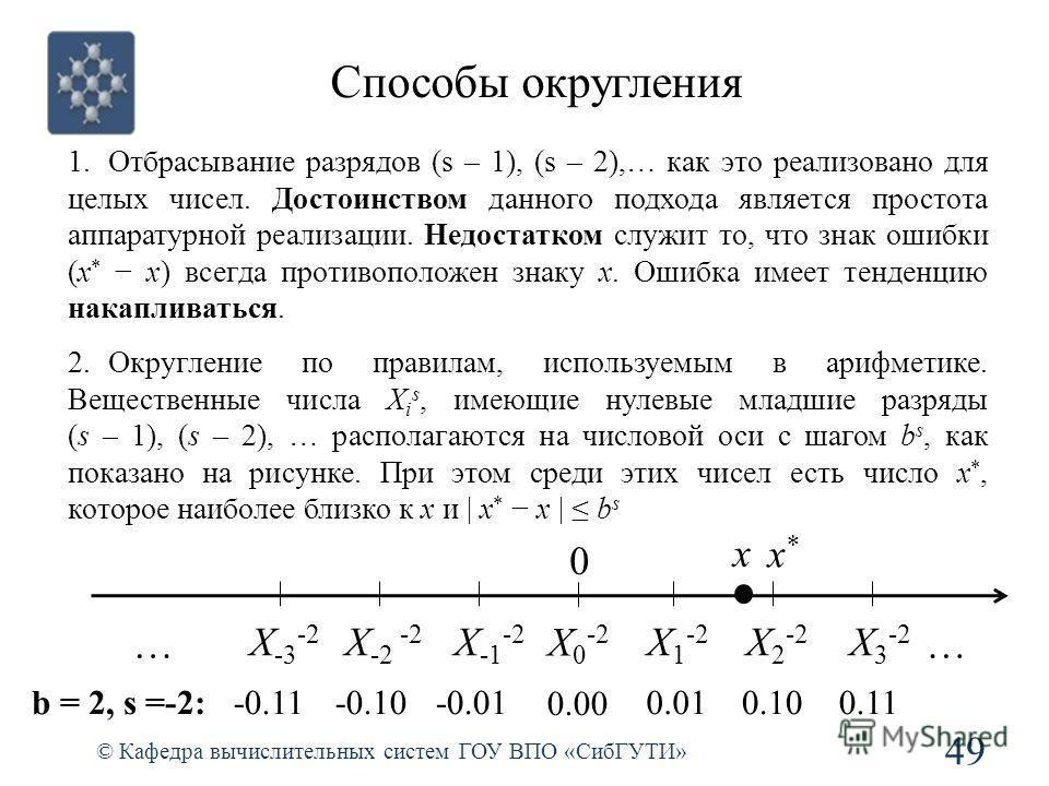 Способы округления 49 © Кафедра вычислительных систем ГОУ ВПО «СибГУТИ» 1.Отбрасывание разрядов (s – 1), (s – 2),… как это реализовано для целых чисел. Достоинством данного подхода является простота аппаратурной реализации. Недостатком служит то, что