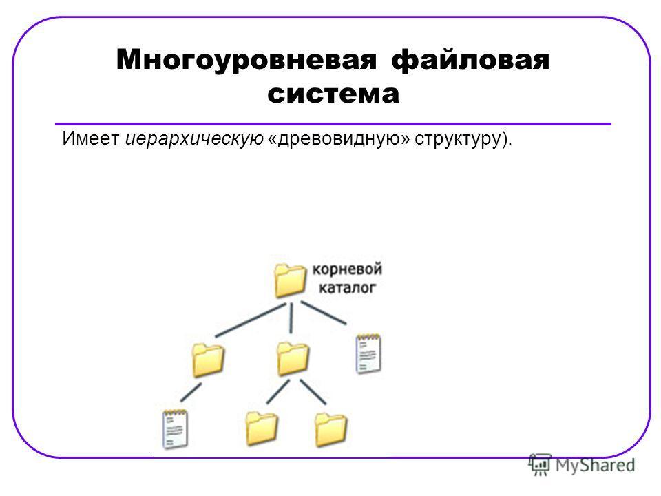 Многоуровневая файловая система Имеет иерархическую «древовидную» структуру).