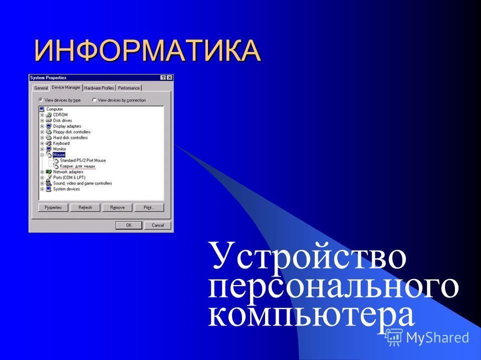 ИНФОРМАТИКА Устройство персонального компьютера