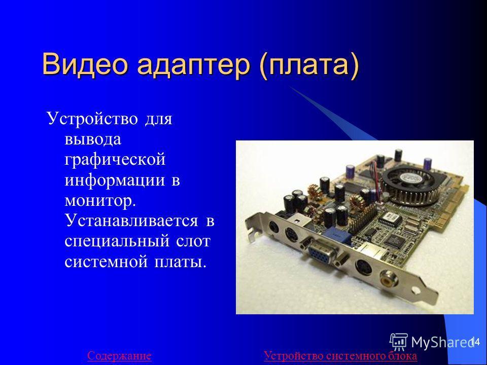 14 Видео адаптер (плата) Устройство для вывода графической информации в монитор. Устанавливается в специальный слот системной платы. СодержаниеУстройство системного блока