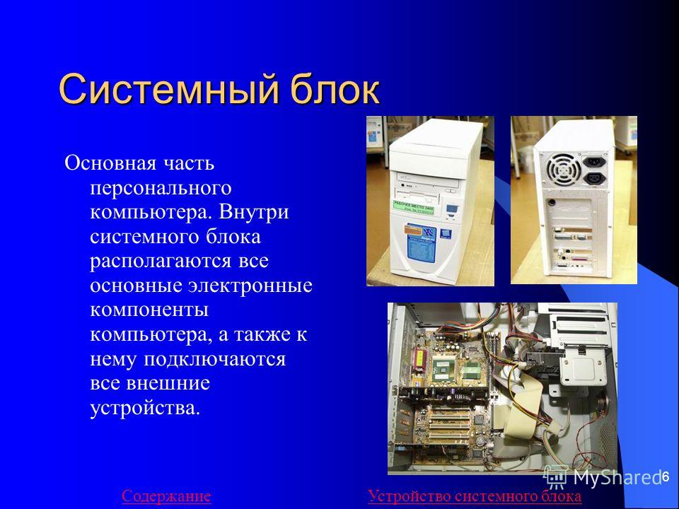 6 Системный блок Основная часть персонального компьютера. Внутри системного блока располагаются все основные электронные компоненты компьютера, а также к нему подключаются все внешние устройства. СодержаниеУстройство системного блока