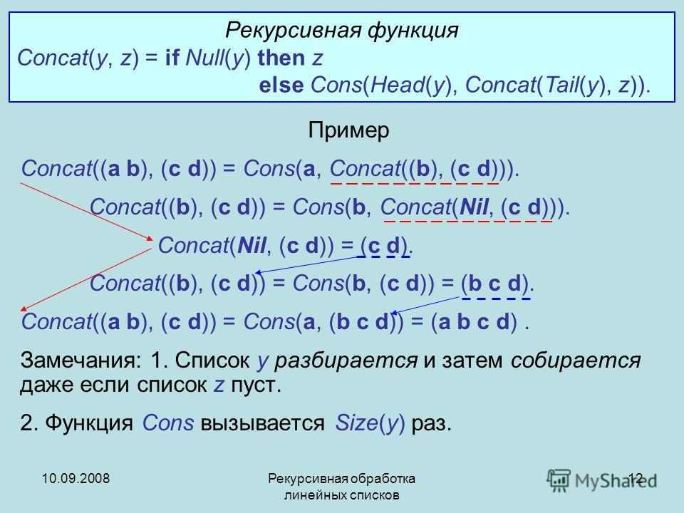 10.09.2008Рекурсивная обработка линейных списков 12 Пример Concat((a b), (c d)) = Cons(a, Concat((b), (c d))). Concat((b), (c d)) = Cons(b, Concat(Nil, (c d))). Concat(Nil, (c d)) = (c d). Concat((b), (c d)) = Cons(b, (c d)) = (b c d). Concat((a b),