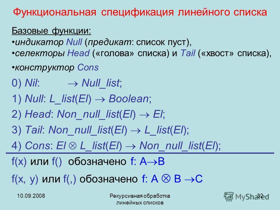 10.09.2008Рекурсивная обработка линейных списков 32 Функциональная спецификация линейного списка Базовые функции: индикатор Null (предикат: список пуст), селекторы Head («голова» списка) и Tail («хвост» списка), конструктор Cons 0) Nil: Null_list; 1)