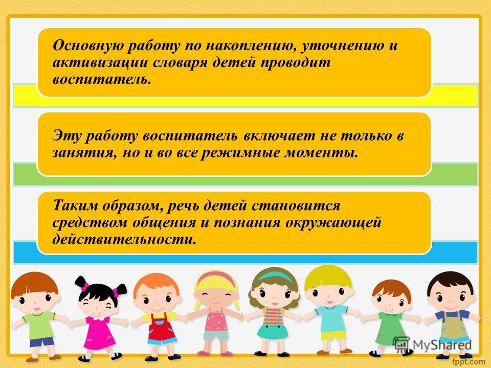 Основную работу по накоплению, уточнению и активизации словаря детей проводит воспитатель. Эту работу воспитатель включает не только в занятия, но и во все режимные моменты. Таким образом, речь детей становится средством общения и познания окружающей