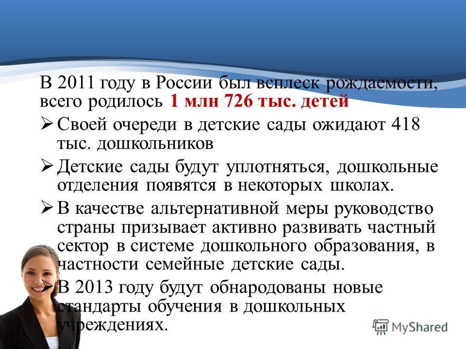 В 2011 году в России был всплеск рождаемости, всего родилось 1 млн 726 тыс. детей Своей очереди в детские сады ожидают 418 тыс. дошкольников Детские сады будут уплотняться, дошкольные отделения появятся в некоторых школах. В качестве альтернативной м