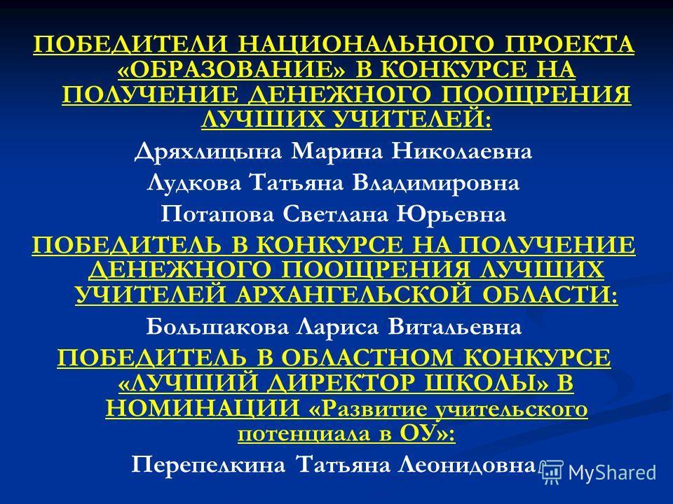 ПОБЕДИТЕЛИ НАЦИОНАЛЬНОГО ПРОЕКТА «ОБРАЗОВАНИЕ» В КОНКУРСЕ НА ПОЛУЧЕНИЕ ДЕНЕЖНОГО ПООЩРЕНИЯ ЛУЧШИХ УЧИТЕЛЕЙ: Дряхлицына Марина Николаевна Лудкова Татьяна Владимировна Потапова Светлана Юрьевна ПОБЕДИТЕЛЬ В КОНКУРСЕ НА ПОЛУЧЕНИЕ ДЕНЕЖНОГО ПООЩРЕНИЯ ЛУЧ
