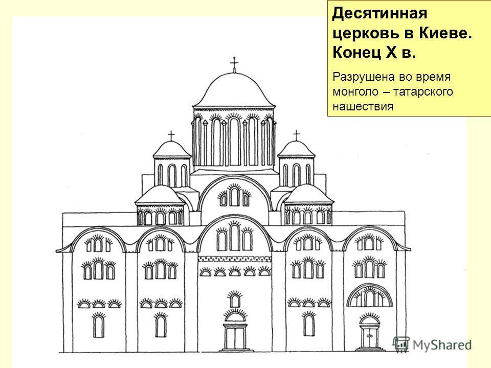 Десятинная церковь в Киеве. Конец X в. Разрушена во время монголо – татарского нашествия