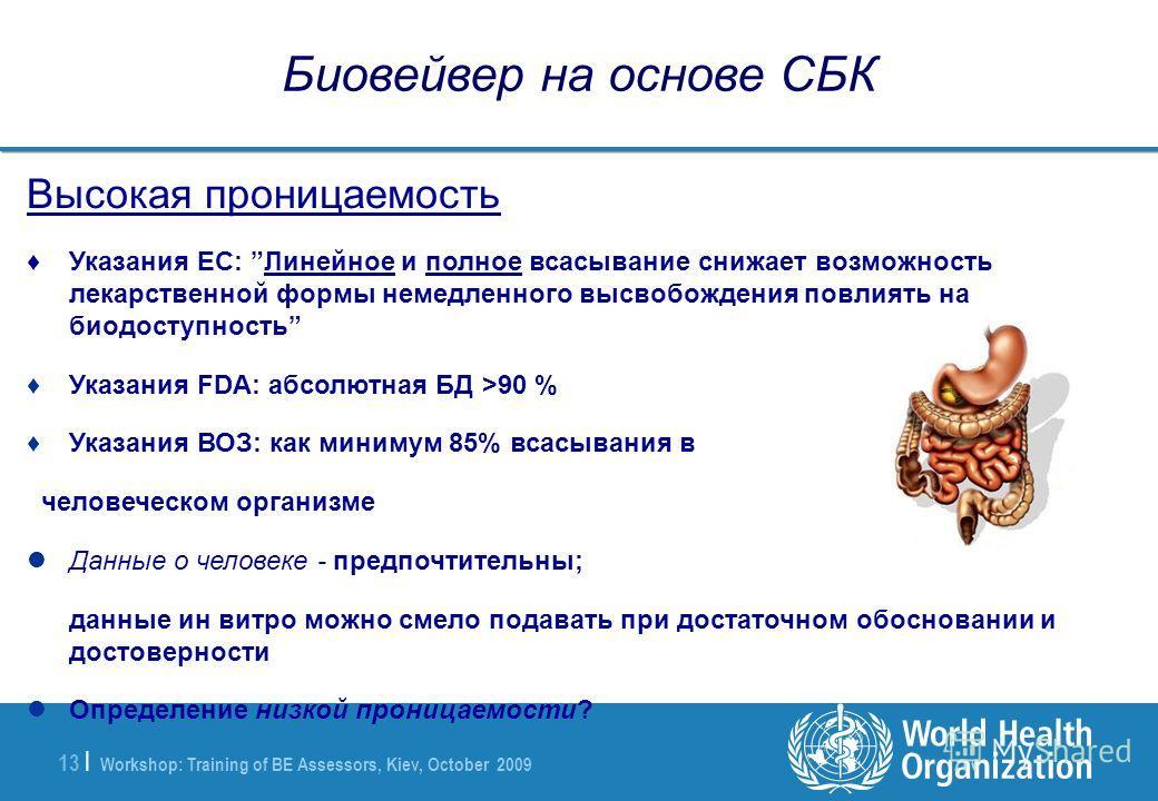Workshop: Training of BE Assessors, Kiev, October 2009 13 | Биовейвер на основе СБК Высокая проницаемость Указания ЕС: Линейное и полное всасывание снижает возможность лекарственной формы немедленного высвобождения повлиять на биодоступность Указания