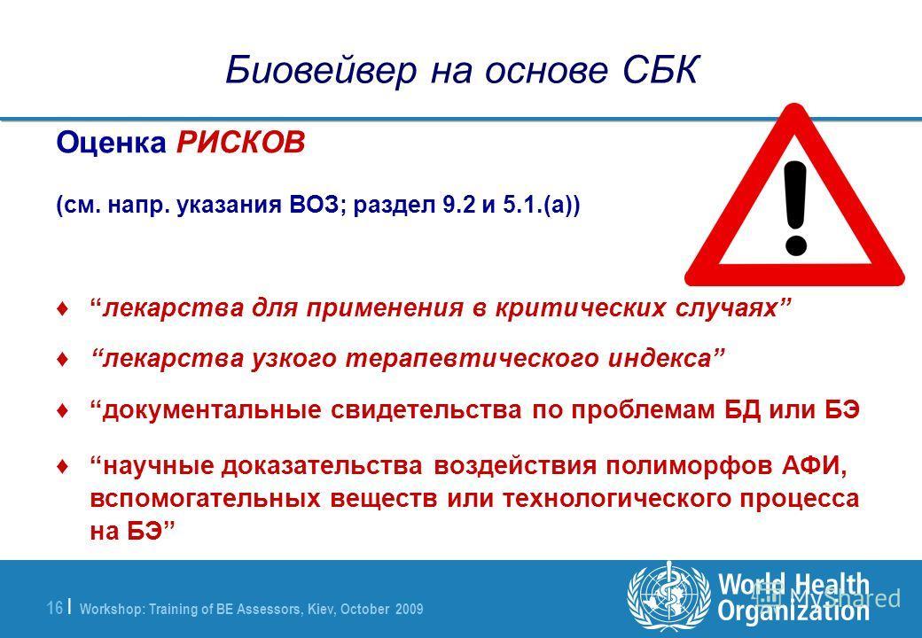 Workshop: Training of BE Assessors, Kiev, October 2009 16 | Биовейвер на основе СБК Оценка РИСКОВ (см. напр. указания ВОЗ; раздел 9.2 и 5.1.(a)) лекарства для применения в критических случаях лекарства узкого терапевтического индекса документальные с