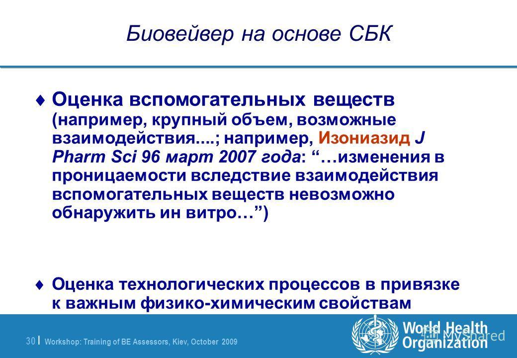 Workshop: Training of BE Assessors, Kiev, October 2009 30 | Биовейвер на основе СБК Оценка вспомогательных веществ (например, крупный объем, возможные взаимодействия....; например, Изониазид J Pharm Sci 96 март 2007 года: …изменения в проницаемости в