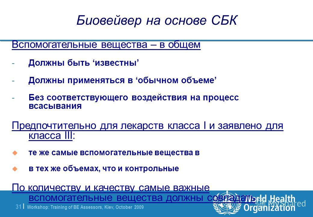 Workshop: Training of BE Assessors, Kiev, October 2009 31 | Биовейвер на основе СБК Вспомогательные вещества – в общем -Должны быть известны -Должны применяться в обычном объеме -Без соответствующего воздействия на процесс всасывания Предпочтительно