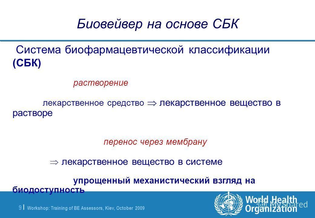 Workshop: Training of BE Assessors, Kiev, October 2009 9 |9 | Биовейвер на основе СБК Система биофармацевтической классификации (СБК) растворение лекарственное средство лекарственное вещество в растворе перенос через мембрану лекарственное вещество в