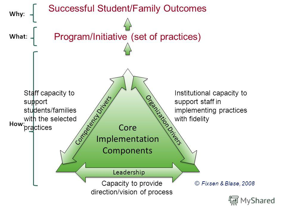 © Fixsen & Blase, 2008 Successful Student/Family Outcomes Core Implementation Components Competency Drivers Organization Drivers Leadership Program/Initiative (set of practices) How: What: Why: Capacity to provide direction/vision of process Staff ca