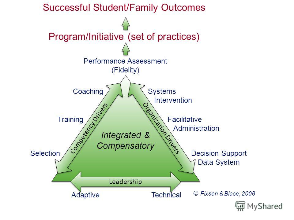 © Fixsen & Blase, 2008 Performance Assessment (Fidelity) Coaching Training Selection Systems Intervention Facilitative Administration Decision Support Data System Integrated & Compensatory Competency Drivers Organization Drivers Leadership AdaptiveTe