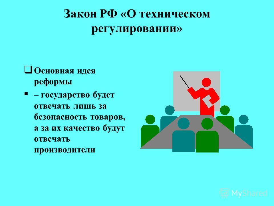 Закон РФ «О техническом регулировании» Закон направлен на устранение необоснованных препятствий для развития торговли и предпринимательства
