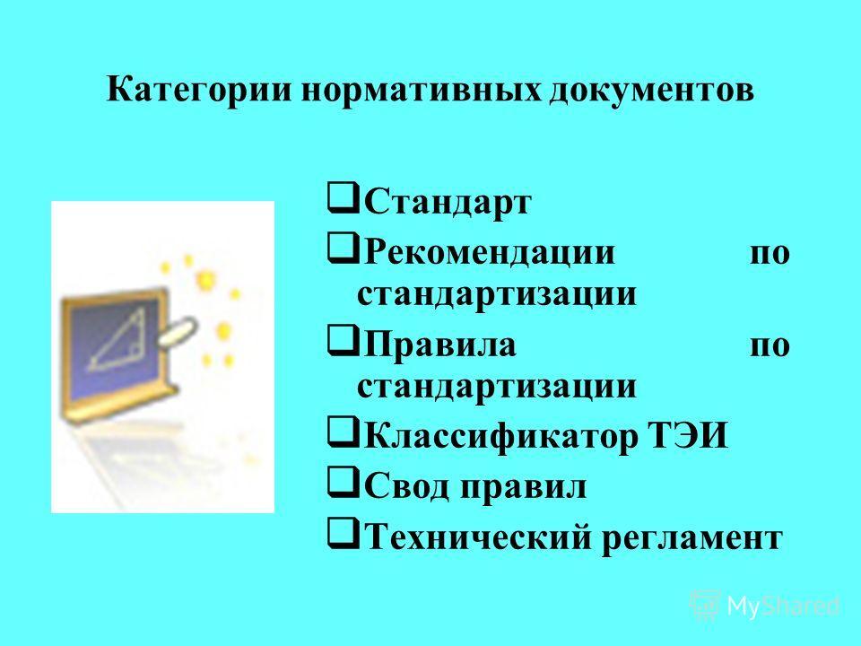Документы по стандартизации Нормативный документ – документ, устанавливающий правила, общие принципы или характеристики, касающиеся различных видов деятельности или их результатов