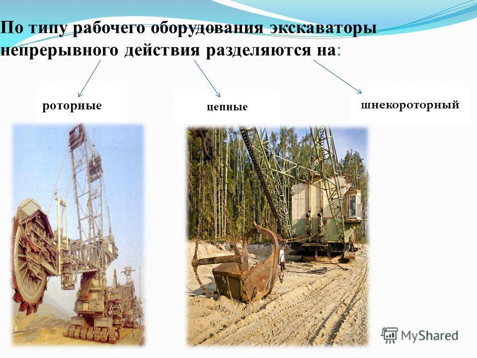 шнекороторный цепные роторные По типу рабочего оборудования экскаваторы непрерывного действия разделяются на: