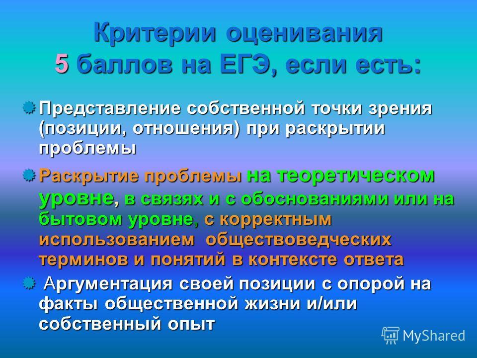 Критерии оценивания 5 баллов на ЕГЭ, если есть: Представление собственной точки зрения (позиции, отношения) при раскрытии проблемы Представление собственной точки зрения (позиции, отношения) при раскрытии проблемы Раскрытие проблемы на теоретическом