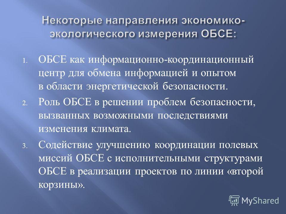 Некоторые направления экономико - экологического измерения ОБСЕ : 1. ОБСЕ как информационно - координационный центр для обмена информацией и опытом в области энергетической безопасности. 2. Роль ОБСЕ в решении проблем безопасности, вызванных возможны