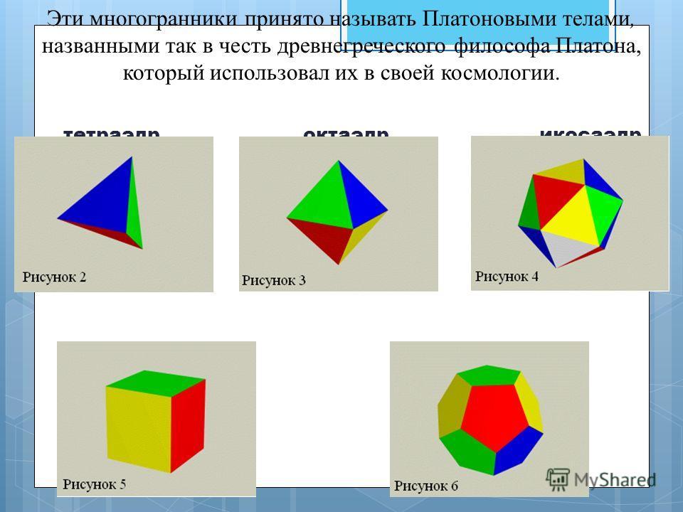 Эти многогранники принято называть Платоновыми телами, названными так в честь древнегреческого философа Платона, который использовал их в своей космологии. тетраэдр октаэдр икосаэдр куб додекаэдр