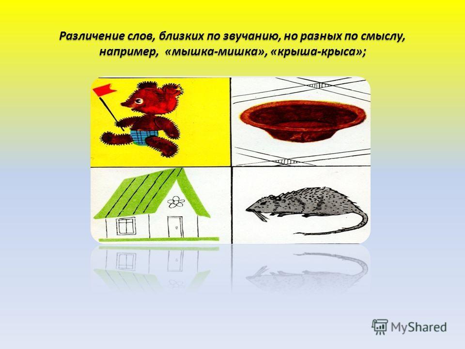 Различение слов, близких по звучанию, но разных по смыслу, например, «мышка-мишка», «крыша-крыса»;