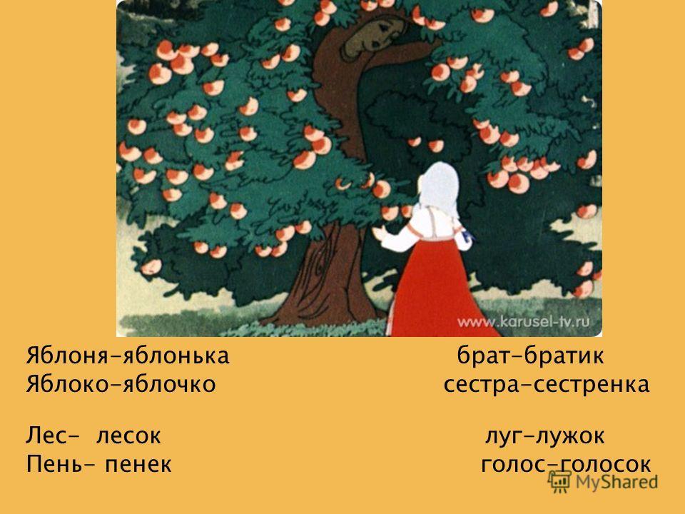 Скажи Яблоня-яблонька брат-братик Яблоко-яблочко сестра-сестренка Лес- лесок луг-лужок Пень- пенек голос-голосок