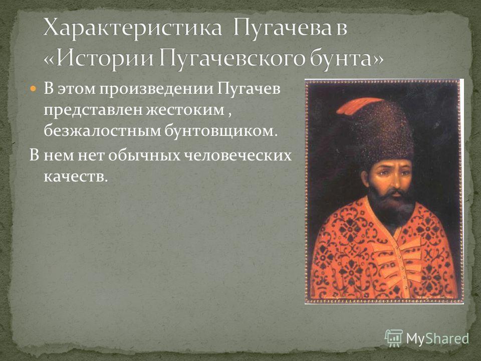 В этом произведении Пугачев представлен жестоким, безжалостным бунтовщиком. В нем нет обычных человеческих качеств.