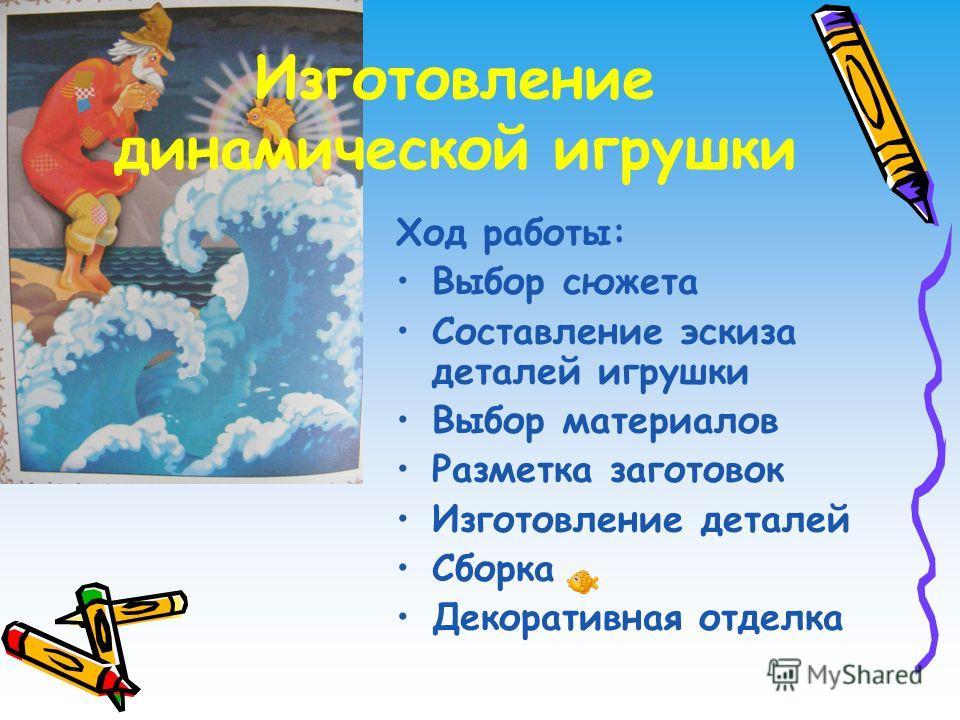Изготовление динамической игрушки Ход работы: Выбор сюжета Составление эскиза деталей игрушки Выбор материалов Разметка заготовок Изготовление деталей Сборка Декоративная отделка