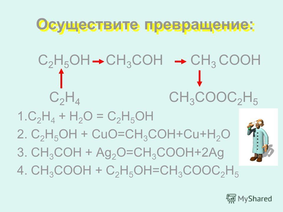 Осуществите превращение: С 2 Н 5 ОН СН 3 СОН CH 3 СООH C 2 Н 4 CH 3 СООC 2 H 5 1.С 2 Н 4 + Н 2 О = С 2 Н 5 ОН 2. С 2 Н 5 ОН + СuO=СН 3 СОН+Сu+Н 2 О 3. СН 3 СОН + Аg 2 О=СН 3 СООН+2Аg 4. СН 3 СООН + С 2 Н 5 ОН=СН 3 СООС 2 Н 5