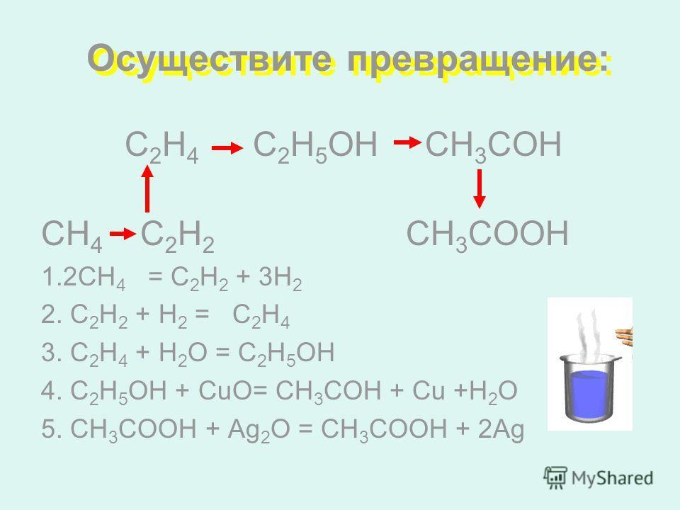 Осуществите превращение: С 2 Н 4 С 2 Н 5 ОН CH 3 СОH СН 4 C 2 Н 2 CH 3 СООН 1.2СН 4 = С 2 Н 2 + 3Н 2 2. С 2 Н 2 + Н 2 = С 2 Н 4 3. С 2 Н 4 + Н 2 О = С 2 Н 5 ОН 4. С 2 Н 5 ОН + CuО= СН 3 СОН + Cu +H 2 O 5. СН 3 СООН + Ag 2 О = СН 3 СООH + 2Ag