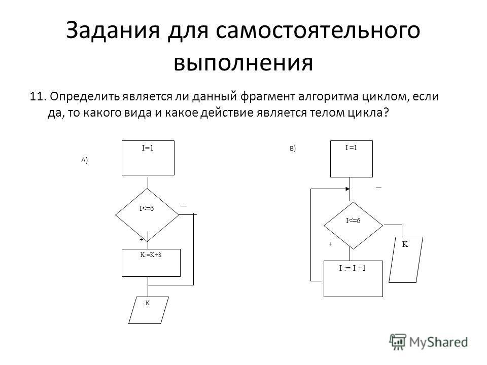 11. Определить является ли данный фрагмент алгоритма циклом, если да, то какого вида и какое действие является телом цикла? Задания для самостоятельного выполнения + I =1 I := I +1 K + I=1 I