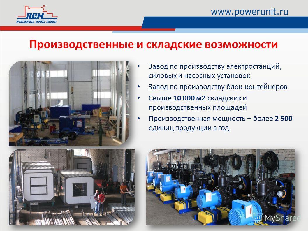 Производственные и складские возможности Завод по производству электростанций, силовых и насосных установок Завод по производству блок-контейнеров Свыше 10 000 м2 складских и производственных площадей Производственная мощность – более 2 500 единиц пр