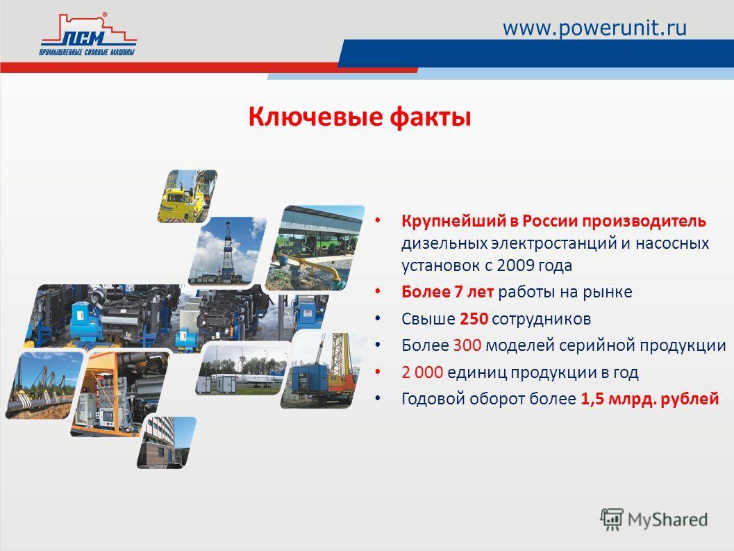 Крупнейший в России производитель дизельных электростанций и насосных установок с 2009 года Более 7 лет работы на рынке Свыше 250 сотрудников Более 300 моделей серийной продукции 2 000 единиц продукции в год Годовой оборот более 1,5 млрд. рублей Ключ