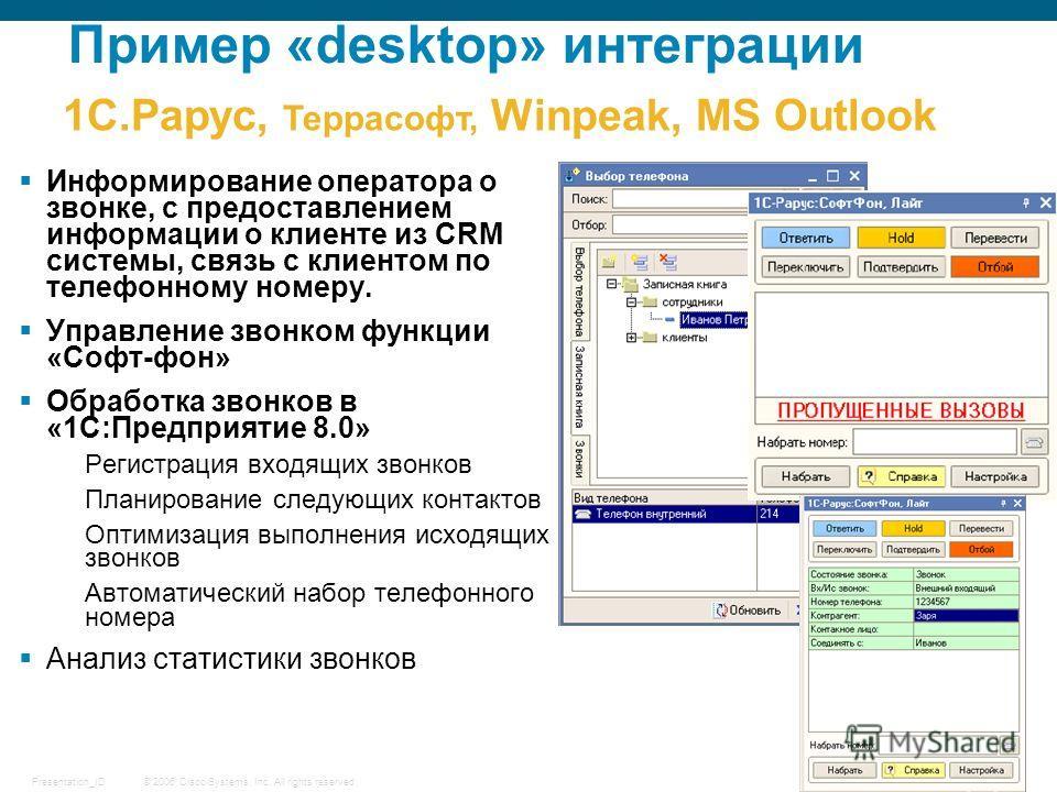 © 2006 Cisco Systems, Inc. All rights reserved.Presentation_ID 15 Информирование оператора о звонке, с предоставлением информации о клиенте из CRM системы, связь с клиентом по телефонному номеру. Управление звонком функции «Софт-фон» Обработка звонко