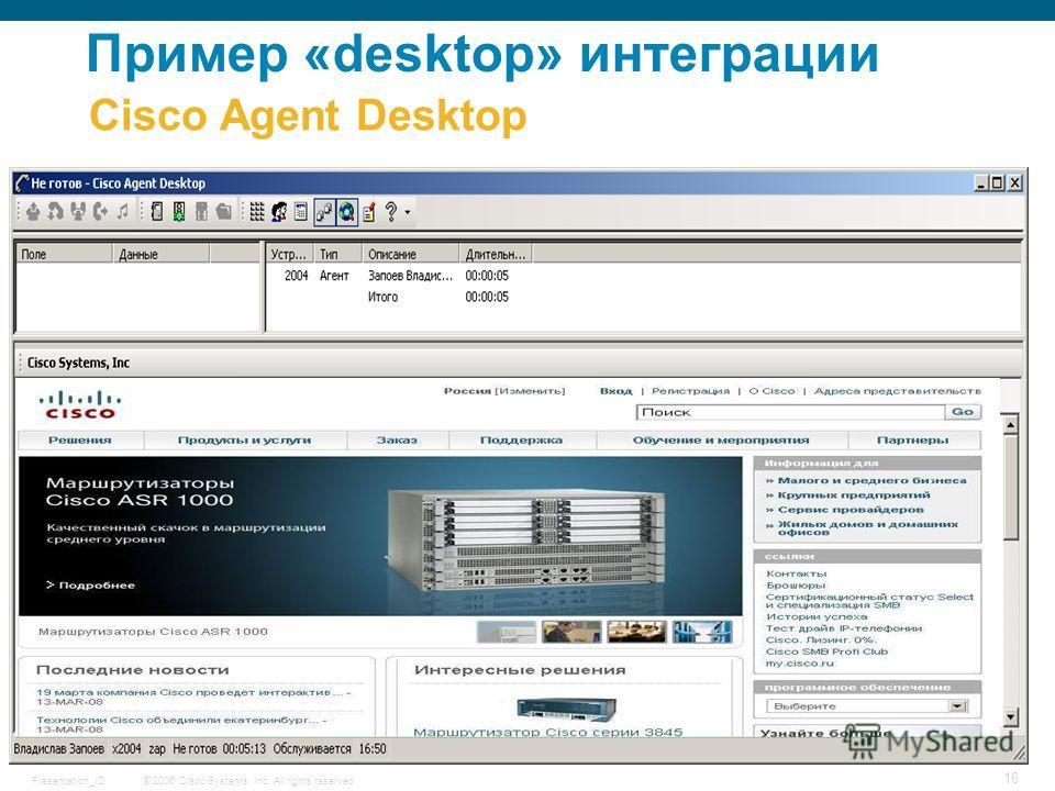 © 2006 Cisco Systems, Inc. All rights reserved.Presentation_ID 16 Cisco Agent Desktop Пример «desktop» интеграции