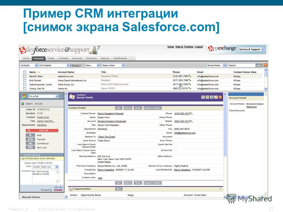 © 2006 Cisco Systems, Inc. All rights reserved.Presentation_ID 27 Пример CRM интеграции [снимок экрана Salesforce.com]