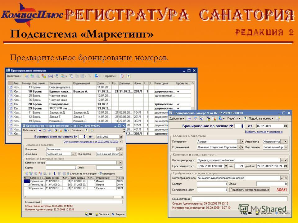 Подсистема «Маркетинг» Предварительное бронирование номеров.
