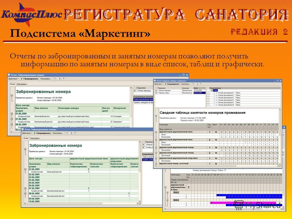Подсистема «Маркетинг» Отчеты по забронированным и занятым номерам позволяют получить информацию по занятым номерам в виде список, таблиц и графически.