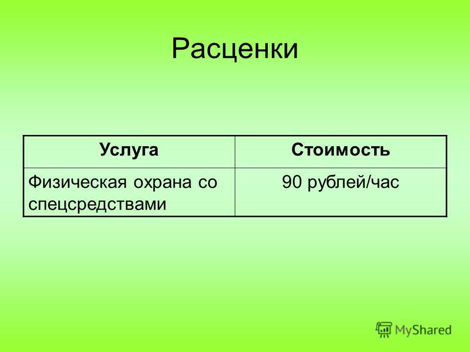 Расценки УслугаСтоимость Физическая охрана со спецсредствами 90 рублей/час