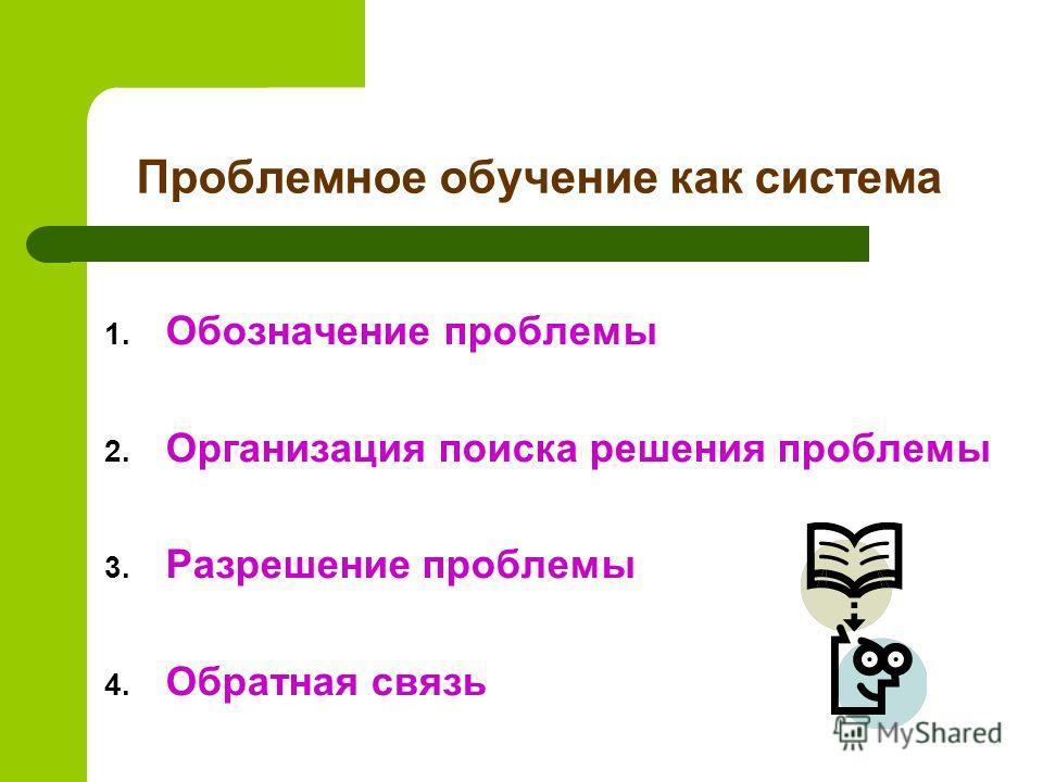 Проблемное обучение как система 1. Обозначение проблемы 2. Организация поиска решения проблемы 3. Разрешение проблемы 4. Обратная связь