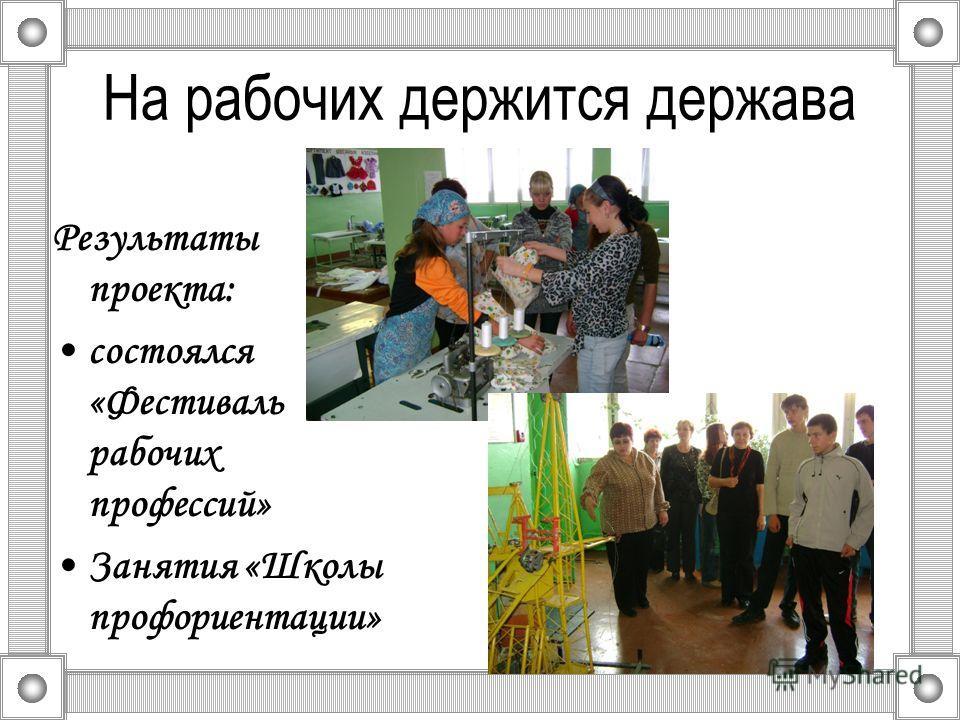 На рабочих держится держава Результаты проекта: состоялся «Фестиваль рабочих профессий» Занятия «Школы профориентации»
