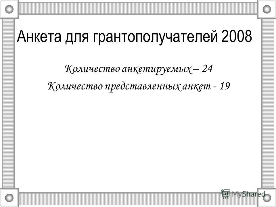 Анкета для грантополучателей 2008 Количество анкетируемых – 24 Количество представленных анкет - 19