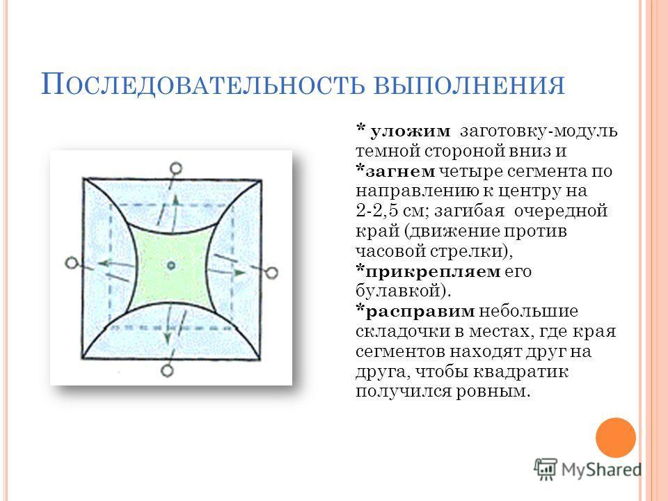 П ОСЛЕДОВАТЕЛЬНОСТЬ ВЫПОЛНЕНИЯ * уложим заготовку-модуль темной стороной вниз и *загнем четыре сегмента по направлению к центру на 2-2,5 см; загибая очередной край (движение против часовой стрелки), *прикрепляем его булавкой). *расправим небольшие ск