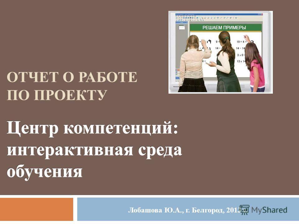 ОТЧЕТ О РАБОТЕ ПО ПРОЕКТУ Лобашова Ю.А., г. Белгород, 2013 г.