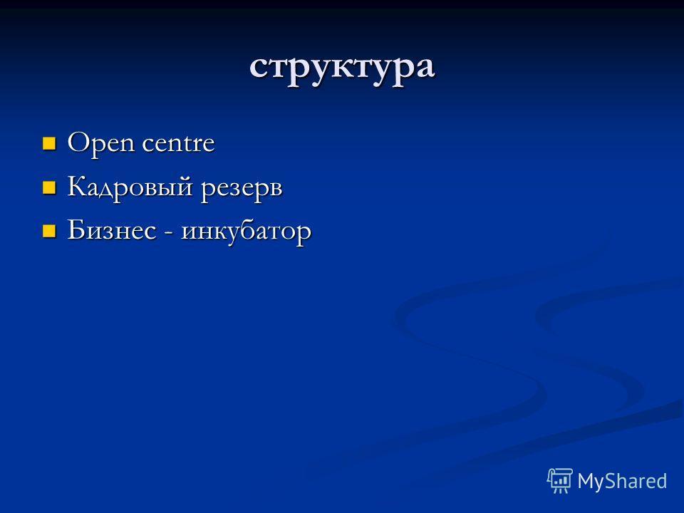 структура Open centre Кадровый резерв Бизнес - инкубатор
