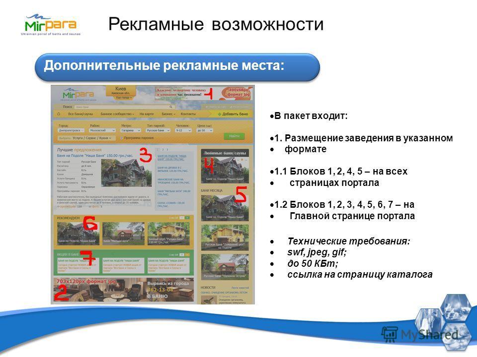 Дополнительные рекламные места: Рекламные возможности В пакет входит: 1. Размещение заведения в указанном формате 1.1 Блоков 1, 2, 4, 5 – на всех страницах портала 1.2 Блоков 1, 2, 3, 4, 5, 6, 7 – на Главной странице портала Технические требования: s