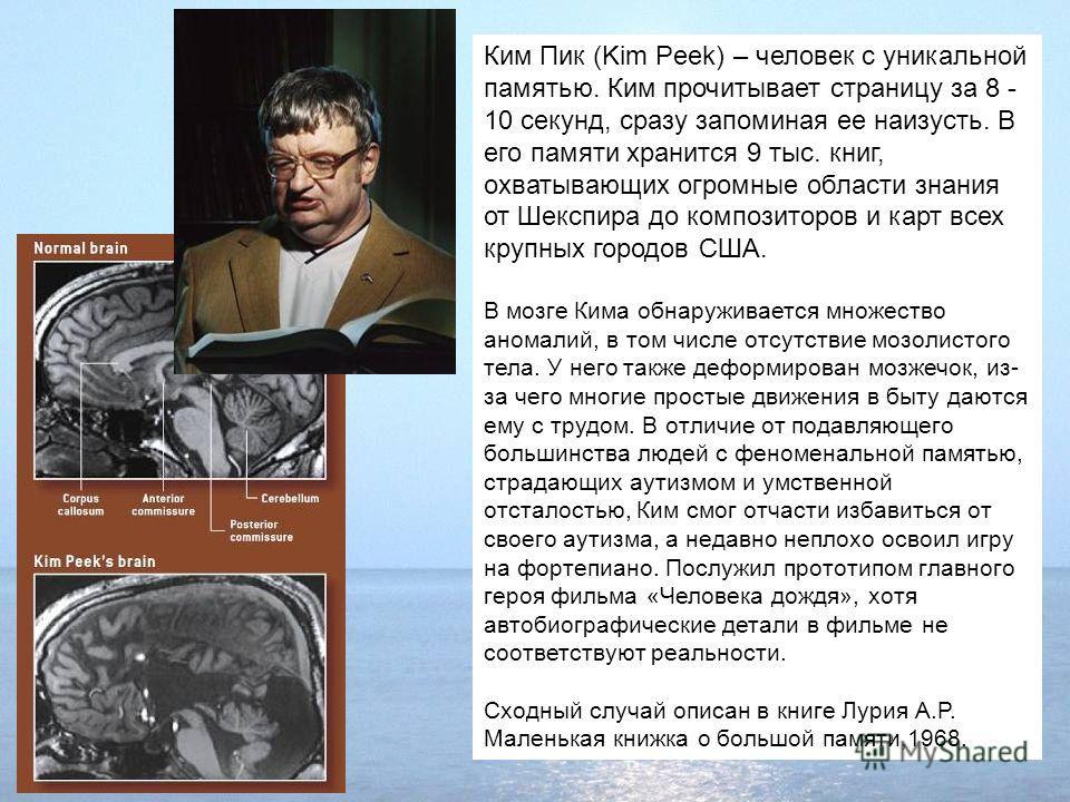 Ким Пик (Kim Peek) – человек с уникальной памятью. Ким прочитывает страницу за 8 - 10 секунд, сразу запоминая ее наизусть. В его памяти хранится 9 тыс. книг, охватывающих огромные области знания от Шекспира до композиторов и карт всех крупных городов