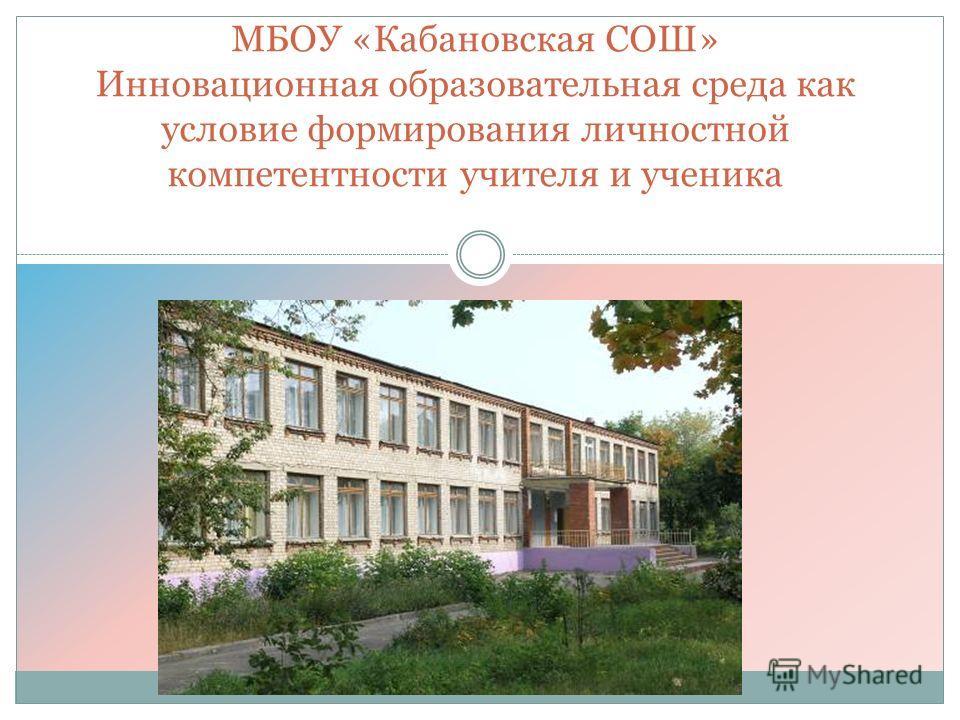 МБОУ «Кабановская СОШ» Инновационная образовательная среда как условие формирования личностной компетентности учителя и ученика