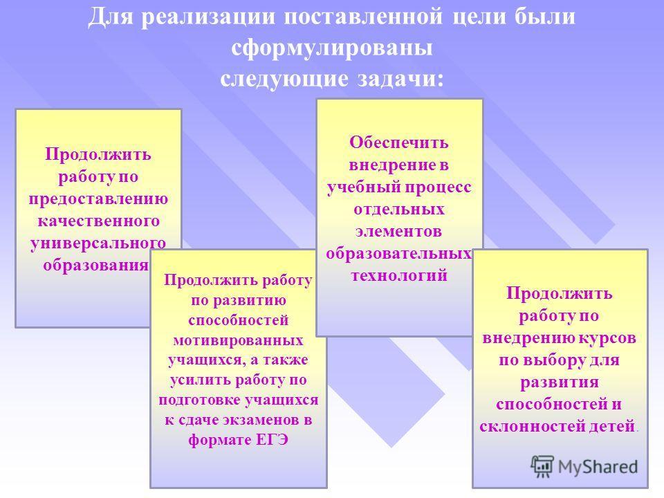 Для реализации поставленной цели были сформулированы следующие задачи: Продолжить работу по предоставлению качественного универсального образования. Продолжить работу по развитию способностей мотивированных учащихся, а также усилить работу по подгото